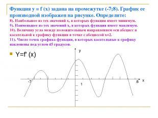 Функция у = f (x) задана на промежутке (-7;8). График ее производной изображен н