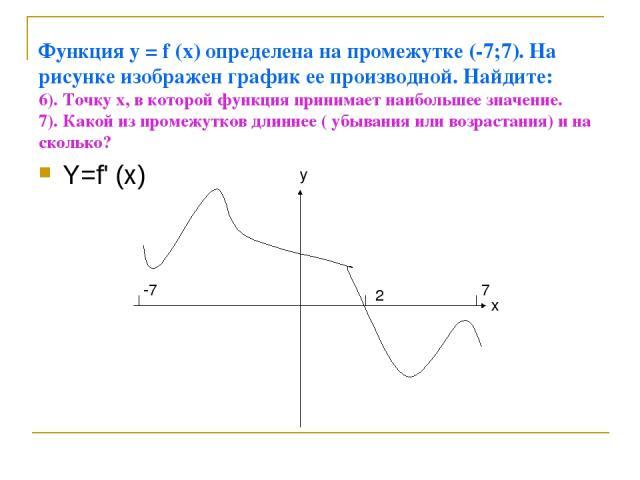 Функция у = f (x) определена на промежутке (-7;7). На рисунке изображен график ее производной. Найдите: 6). Точку х, в которой функция принимает наибольшее значение. 7). Какой из промежутков длиннее ( убывания или возрастания) и на сколько? Y=f' (x)…