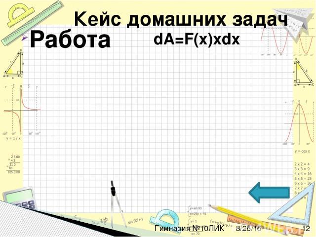Гимназия №10ЛИК Физическая величина Дифференциальное уравнение А работа dA=F(x)xdx Pдавление dp=S(x)xdx Sперемещение ds=v(t)dt qэлектрический заряд dq=I(t)dt Nколичество атомов dN=-λNdt
