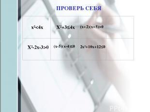 х²0 Х²-2х-3>0 (х-5)(х-4)≤0 2х²+10х+12≤0 ПРОВЕРЬ СЕБЯ