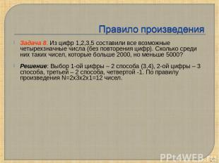 Задача 8. Из цифр 1,2,3,5 составили все возможные четырехзначные числа (без повт