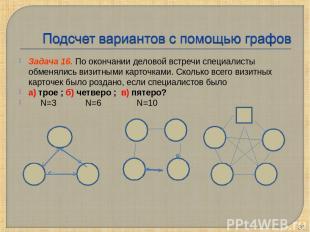 Задача 16. По окончании деловой встречи специалисты обменялись визитными карточк