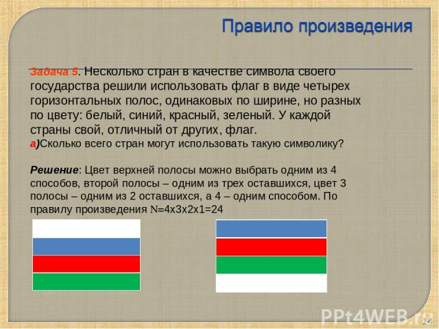 * Задача 5. Несколько стран в качестве символа своего государства решили использовать флаг в виде четырех горизонтальных полос, одинаковых по ширине, но разных по цвету: белый, синий, красный, зеленый. У каждой страны свой, отличный от других, флаг.…