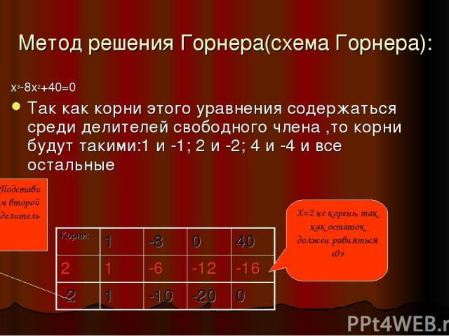 Метод решения Горнера(схема Горнера): x3-8x2+40=0 Так как корни этого уравнения содержаться среди делителей свободного члена ,то корни будут такими:1 и -1; 2 и -2; 4 и -4 и все остальные X=2 не корень, так как остаток должен равняться «0» Подставим …