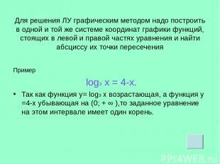 Для решения ЛУ графическим методом надо построить в одной и той же системе коорд