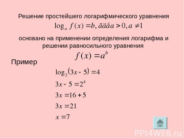 Решение простейшего логарифмического уравнения основано на применении определения логарифма и решении равносильного уравнения Пример