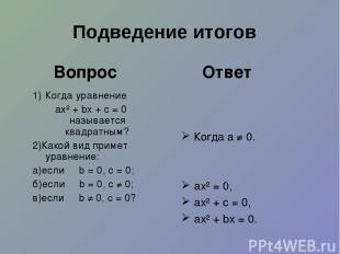 1) Когда уравнение ах² + bх + с = 0 называется квадратным? 2)Какой вид примет ур