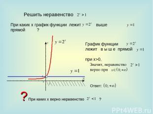 Решить неравенство При каких х график функции лежит прямой ? выше График функции