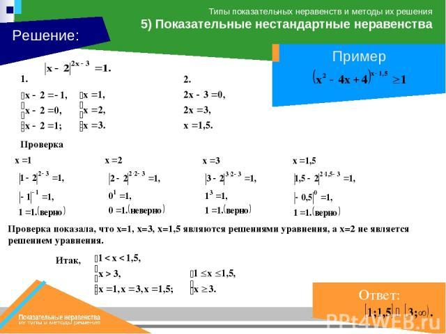 Проверка Проверка показала, что х=1, х=3, х=1,5 являются решениями уравнения, а х=2 не является решением уравнения.