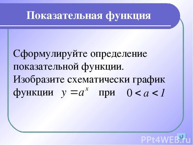 Показательная функция Сформулируйте определение показательной функции. Изобразите схематически график функции при