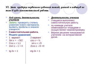 VI. Этап проверки первичного усвоения знаний, умений и навыков по теме в ходе са