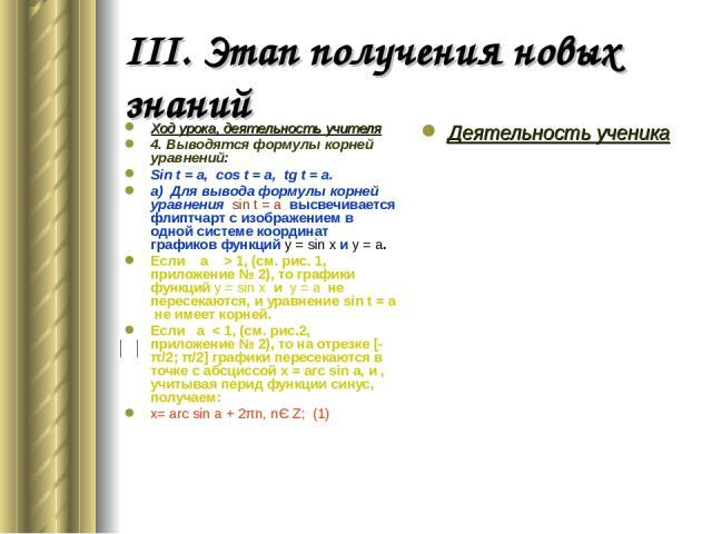 III. Этап получения новых знаний Ход урока, деятельность учителя 4. Выводятся формулы корней уравнений: Sin t = a, cos t = a, tg t = a. а) Для вывода формулы корней уравнения sin t = a высвечивается флиптчарт с изображением в одной системе координат…