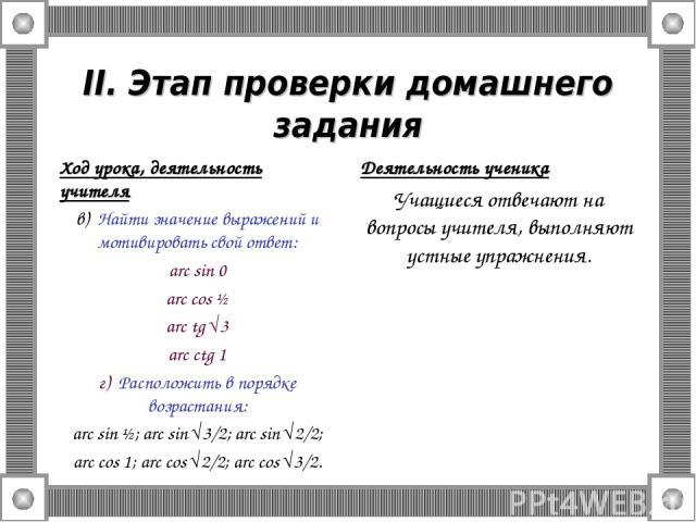 II. Этап проверки домашнего задания Ход урока, деятельность учителя в) Найти значение выражений и мотивировать свой ответ: arc sin 0 arc cos ½ arc tg √3 arc ctg 1 г) Расположить в порядке возрастания: arc sin ½; arc sin √3/2; arc sin √2/2; arc cos 1…