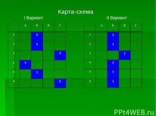 Карта-схема I Вариант II Вариант А Б В Г 1 § 2 § 3 § 4 § 5 § 6 § А Б В Г 1 § 2 §