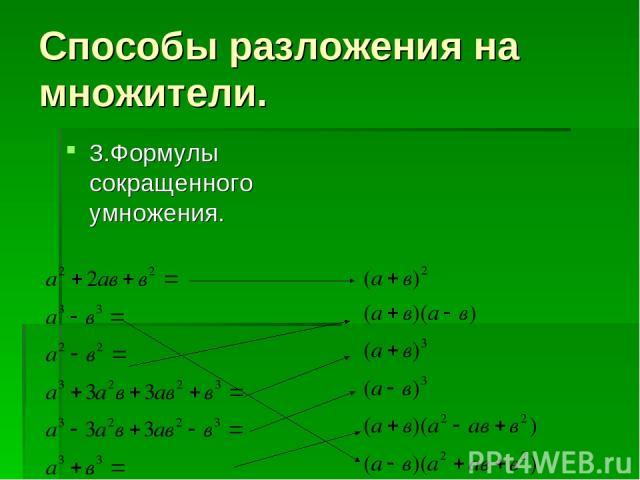 Способы разложения на множители. 3.Формулы сокращенного умножения.