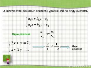 О количестве решений системы уравнений по виду системы Одно решение Одно решение