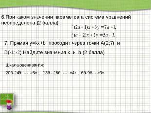 6.При каком значении параметра a система уравнений неопределена (2 балла): 7. Пр