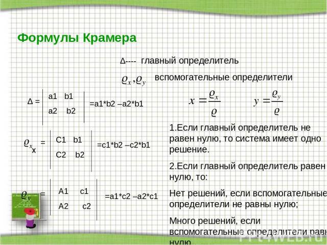 Формулы Крамера ∆---- главный определитель вспомогательные определители ∆ = a1 b1 a2 b2 =a1*b2 –a2*b1 = C1 b1 C2 b2 =c1*b2 –c2*b1 = A1 c1 A2 c2 =a1*c2 –a2*с1 x x 1.Если главный определитель не равен нулю, то система имеет одно решение. 2.Если главны…