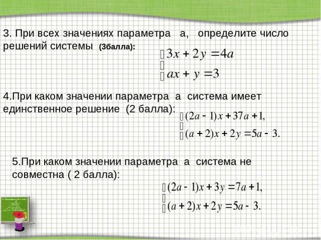 3. При всех значениях параметра a, определите число решений системы (3балла): 4.При каком значении параметра a система имеет единственное решение (2 балла): 5.При каком значении параметра a система не совместна ( 2 балла):