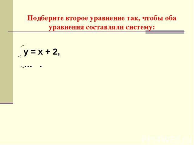 Подберите второе уравнение так, чтобы оба уравнения составляли систему: у = х + 2, … .