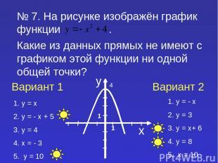 № 7. На рисунке изображён график функции . Какие из данных прямых не имеют с гра