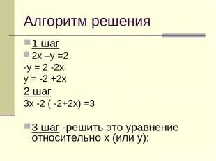 Алгоритм решения 1 шаг 2х –у =2 -у = 2 -2х у = -2 +2х 2 шаг 3х -2 ( -2+2х) =3 3