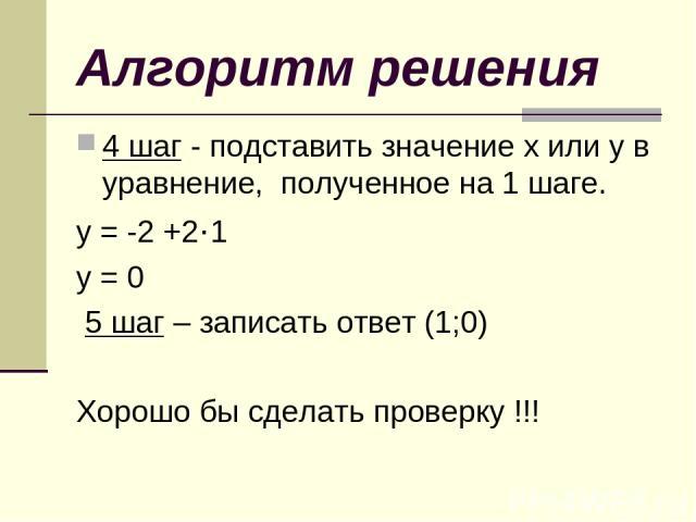 Алгоритм решения 4 шаг - подставить значение х или у в уравнение, полученное на 1 шаге. у = -2 +2·1 у = 0 5 шаг – записать ответ (1;0) Хорошо бы сделать проверку !!!