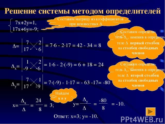 -80 Решение системы методом определителей Составим матрицу из коэффициентов при неизвестных = 7·6 - 2·17 = 42 - 34 = 8 = 1·6 - 2·(-9) = 6 + 18 = 24 = 7·(-9) - 1·17 = - 63 -17= -80 Составим определи- тель x, заменив в определи- теле первый столбец на…