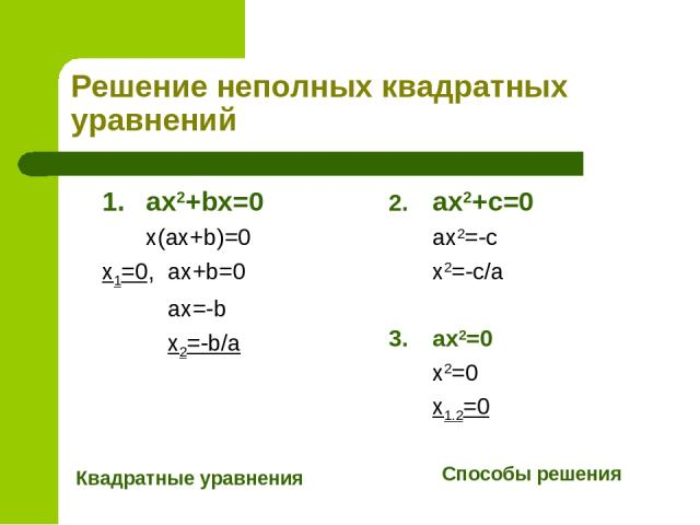 Решение неполных квадратных уравнений 1. ax2+bx=0 x(ax+b)=0 x1=0, ax+b=0 ax=-b x2=-b/a Квадратные уравнения 2. ax2+c=0 ax2=-c x2=-c/a 3. ax2=0 x2=0 x1.2=0 Способы решения