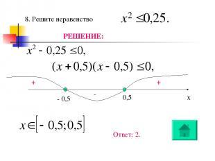 8. Решите неравенство РЕШЕНИЕ: х - 0,5 0,5 + + - Ответ: 2.