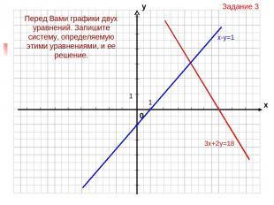 Задание 3 3х+2у=18 Перед Вами графики двух уравнений. Запишите систему, определя