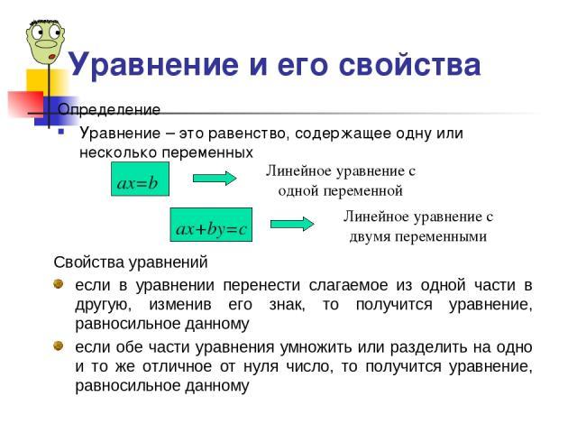 Определение Уравнение – это равенство, содержащее одну или несколько переменных Линейное уравнение с одной переменной Линейное уравнение с двумя переменными Свойства уравнений если в уравнении перенести слагаемое из одной части в другую, изменив его…