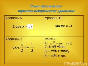Реши простейшее тригонометрическое уравнение Уровень А 2 cos x = Уровень В sin 2