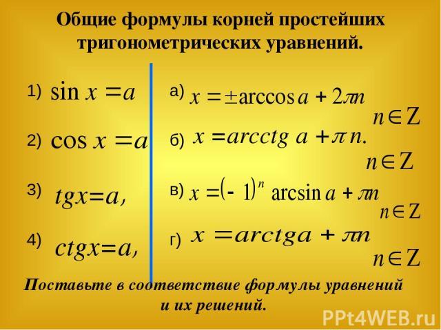 Общие формулы корней простейших тригонометрических уравнений. 1) 2) 3) 4) а) б) в) г) tgx=a, сtgx=a, x =arcctg a + n. Поставьте в соответствие формулы уравнений и их решений.