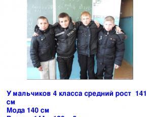 У мальчиков 4 класса средний рост 141 см Мода 140 см Размах 144 – 139 = 5 см Мед