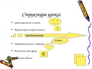 Структура урока: Организационный момент. Актуализация опорных знаний. . Отработк