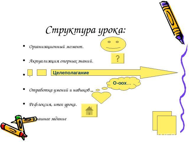 Структура урока: Организационный момент. Актуализация опорных знаний. . Отработка умений и навыков. Рефлексия, итог урока. Домашнее задание Целеполагание О-оох…