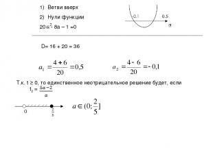 Ветви вверх Нули функции - 8a – 1 =0 D= 16 + 20 = 36 Т.к. t ≥ 0, то единственное