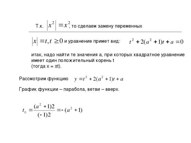 Т.к. , то сделаем замену переменных и уравнение примет вид: итак, надо найти те значения a, при которых квадратное уравнение имеет один положительный корень t (тогда x = ±t). Рассмотрим функцию График функции – парабола, ветви – вверх.