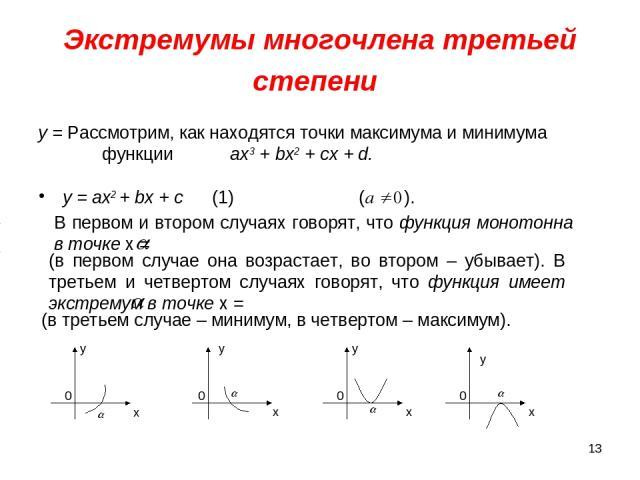 * Экстремумы многочлена третьей степени у = ах2 + bх + с (1) ( ). у = Рассмотрим, как находятся точки максимума и минимума функции ах3 + bx2 + сх + d. у у у у 0 0 0 0 x x x x В первом и втором случаях говорят, что функция монотонна в точке х = (в пе…