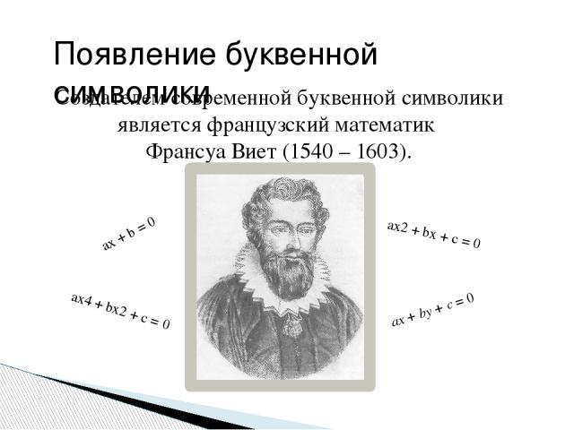 Создателем современной буквенной символики является французский математик Франсуа Виет (1540 – 1603). ax + b = 0 ax2+ bx + c = 0 ax4+ bx2+ c = 0 ax+by+c=0 Появление буквенной символики