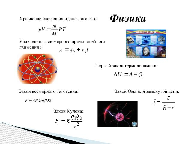 Физика Уравнение состояния идеального газа: Уравнение равномерного прямолинейного движения : Первый закон термодинамики: Закон всемирного тяготения: F=GMm/D2 Закон Кулона: Закон Ома для замкнутой цепи: