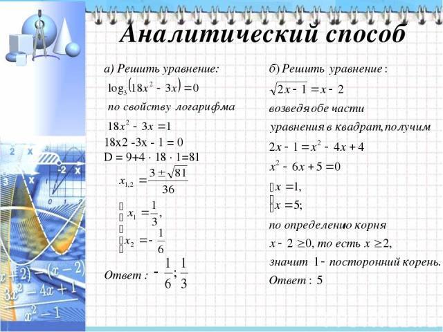 Аналитический способ а) Решить уравнение: 18х2 -3х - 1 = 0 D = 9+4 ∙ 18 ∙ 1=81 Ответ :