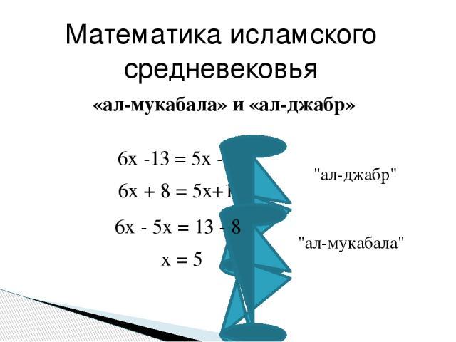 6x -13 = 5x - 8 6x + 8 = 5x+13 х = 5 «ал-мукабала» и «ал-джабр» Математика исламского средневековья