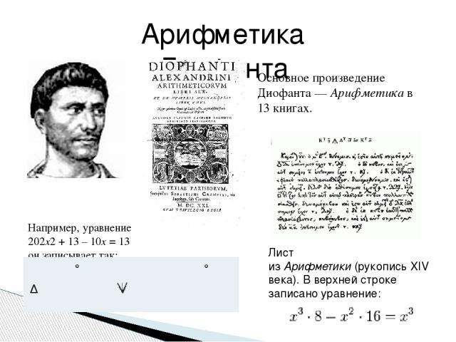Основное произведение Диофанта—Арифметикав 13 книгах. Арифметика Диофанта Лист изАрифметики(рукопись XIV века). В верхней строке записано уравнение: Например, уравнение 202x2+ 13 – 10x= 13 он записывает так: ° ° Δυ σβ Μ ιγ ς ι ΐσ Μ ιγ