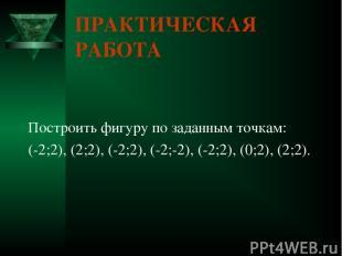 ПРАКТИЧЕСКАЯ РАБОТА Построить фигуру по заданным точкам: (-2;2), (2;2), (-2;2),