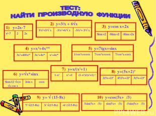 2) y=3/x + 6√x 3/x²+3/√ x -3/x²+6/√ x -3/x²+ 3/√ x 4) y=x³+4x100 3x²+400x99 3x3+