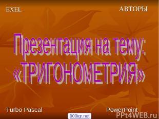 АВТОРЫ EXEL Turbo Pascal PowerPoint 900igr.net