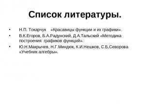 Список литературы. Н.П. Токарчук «Красавицы функции и их графики». В.К.Егоров, Б