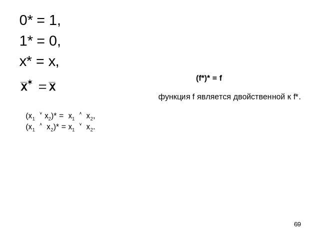 * 0* = 1, 1* = 0, x* = x, (x1 x2)* = x1 x2, (x1 x2)* = x1 x2. (f*)* = f функция f является двойственной к f*.